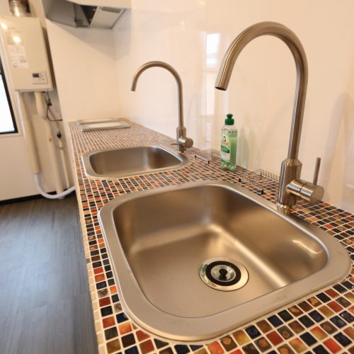 2F mosaic cafe kitchen